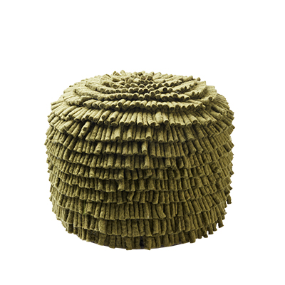 Handmade olive green pouf made of 100% wool.