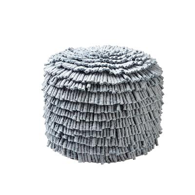 Handmade concrete grey pouf made of 100% wool.