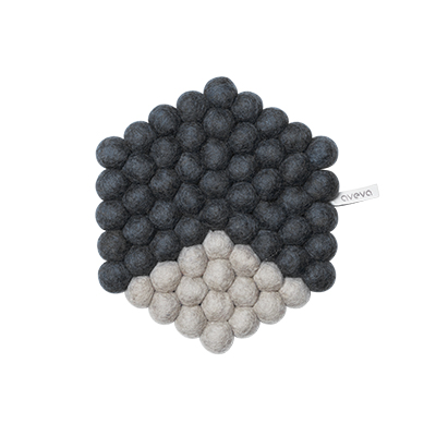 Hexagon shaped trivet made of 100% wool - Dark grey and light grey.
