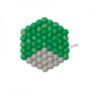 Hexagon shaped trivet made of 100% wool - Green and grey.