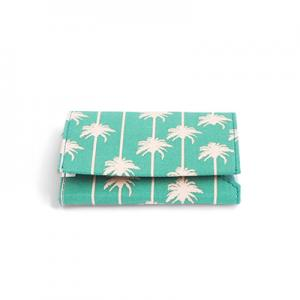 Green foldable wallet in recycled green fabric with palm trees