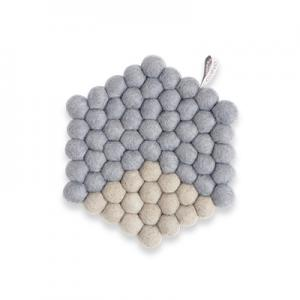 Hexagon shaped trivet made of 100% wool - Two colored grey.