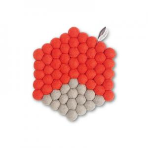 Hexagon shaped trivet made of 100% wool - Coral red and grey.