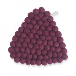 Handmade triangle trivet made of 100% wool - Aubergine.