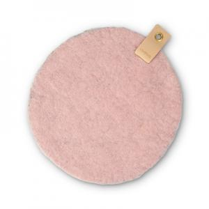 Round seat cushion in pink wool with a hanger in eco leather.