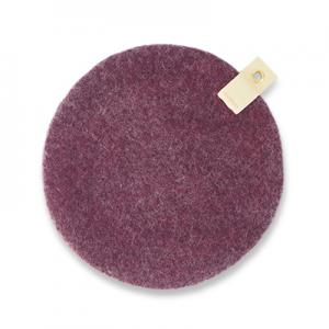 Round seat cushion in aubergine  wool with a hanger in eco leather.