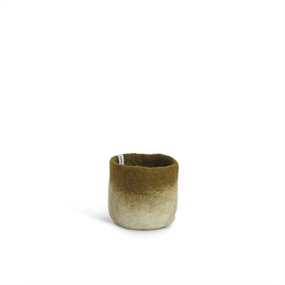 Small flower pot in olive green made of wool with ombre effect.