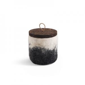 Handmade jar made of wool in dark grey ombre with a lid of cork and leather.
