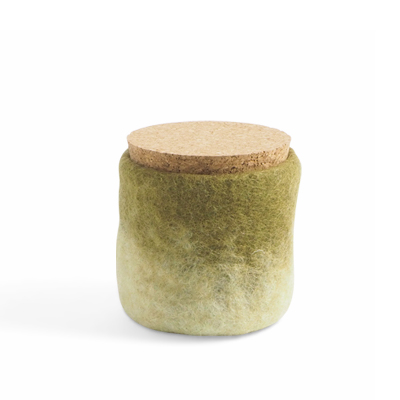 Handmade jar made of wool in olivegreen and white ombre with a lid of light cork.