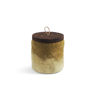 Handmade jar made of wool in olive green ombre with a lid of cork and leather.