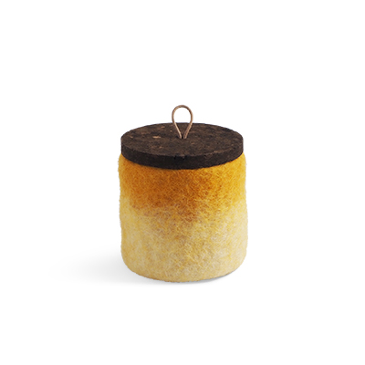 Handmade jar made of wool in mustard ombre with a lid of cork and leather.