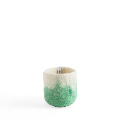 Small flower pot in pistache made of wool with ombre effect.