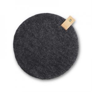 Round seat cushion in dark grey wool with a hanger in eco leather.
