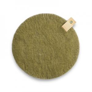 Round seat cushion in olive green wool with a hanger in eco leather.