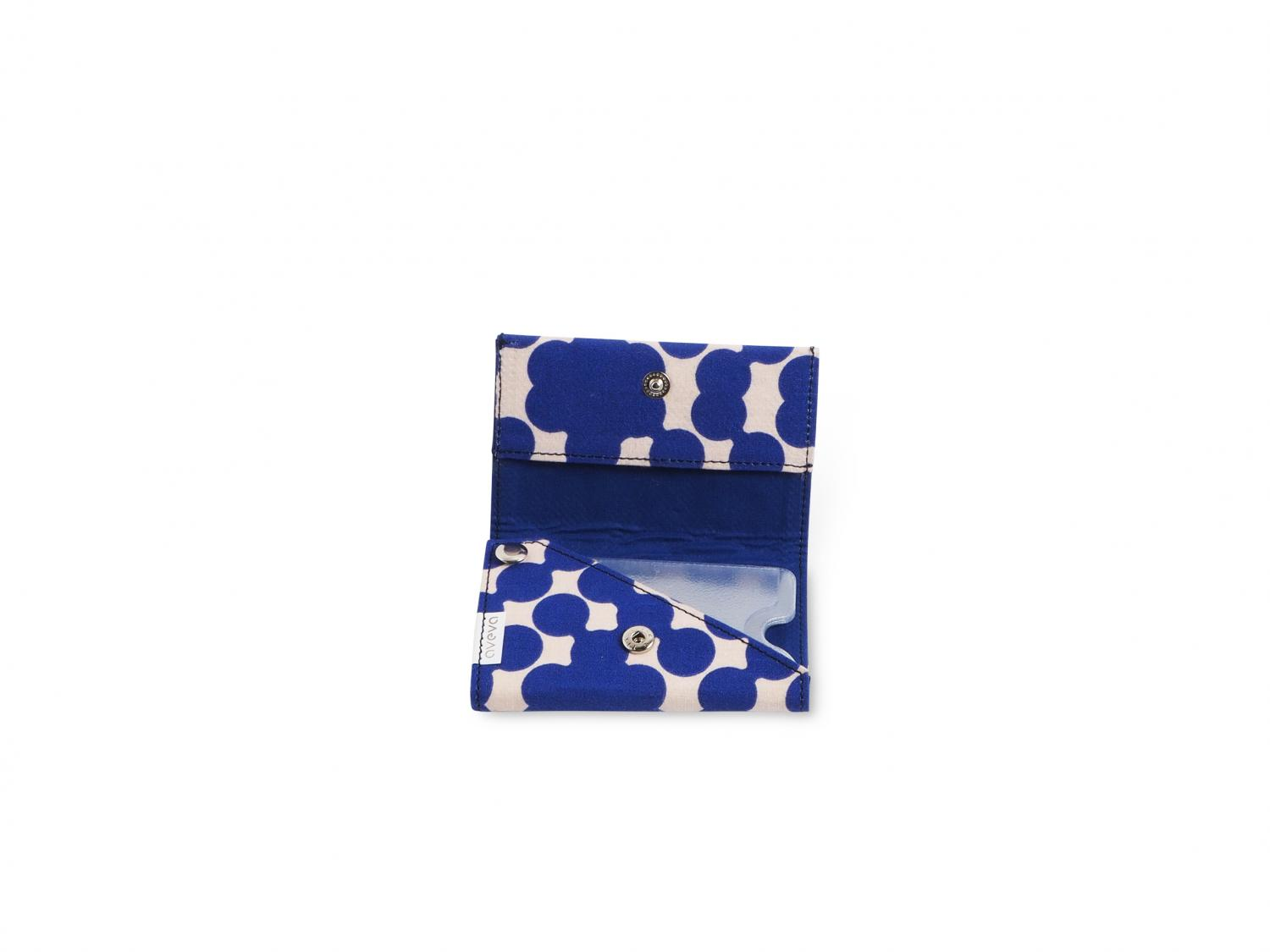 Handmade patterned wallet in recycled cotton with blue dots - Open.