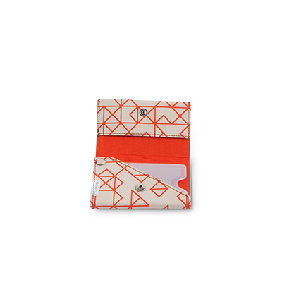Handmade patterned wallet in recycled cotton in orange and white - Open.