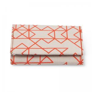 WALLET, FABRIC, orange white