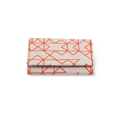 WALLET, FABRIC, orange/white