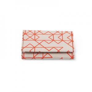 Handmade patterned wallet in recycled cotton in orange and white - Closed.