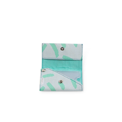 Handmade patterned wallet in recycled cotton in sky mint - Open.