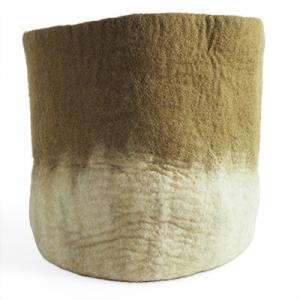 Extra large flower pot in olive green made of wool with ombre effect.
