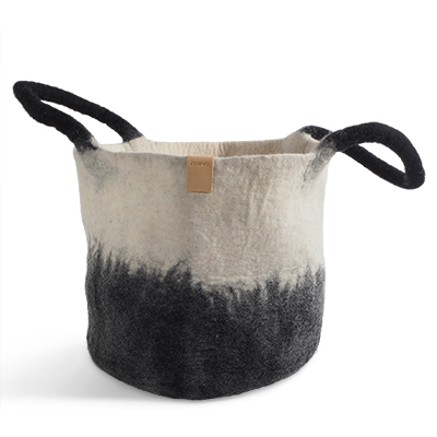 Large wool basket in white and black with ombre effect.