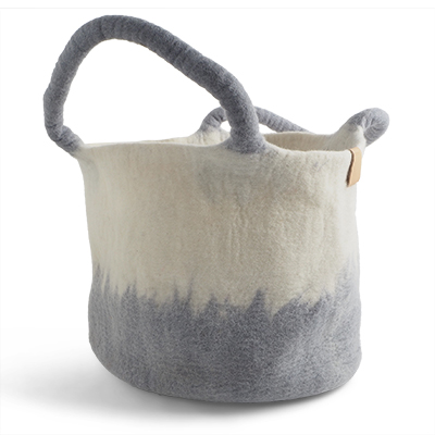 Large wool basket in white and concrete grey with ombre effect.