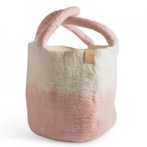Large wool basket in white and pink with ombre effect.