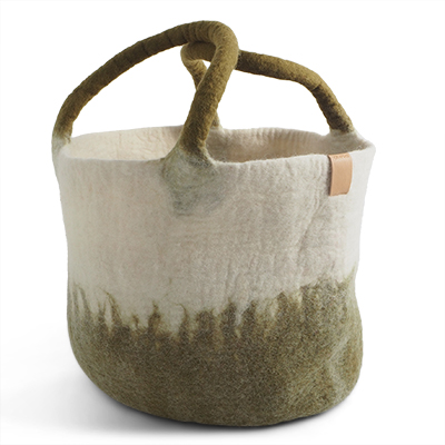 Large wool basket in white and olive green with ombre effect.