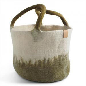 WOOL BASKET, olive