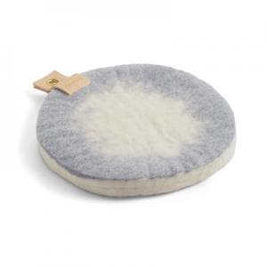 Round trivet in ombre with a hanger in eco leather - Concrete grey.