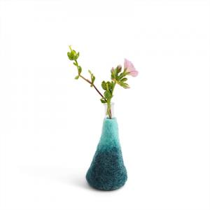 Medium sized blue ombre vase made of wool with a glass for the flowers.