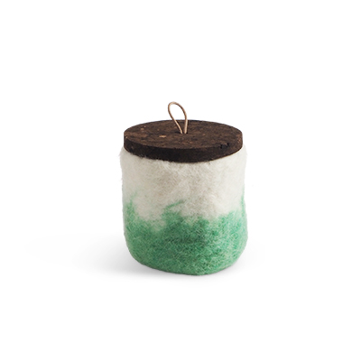 Handmade jar made of wool in pistache ombre with a lid of cork and leather.