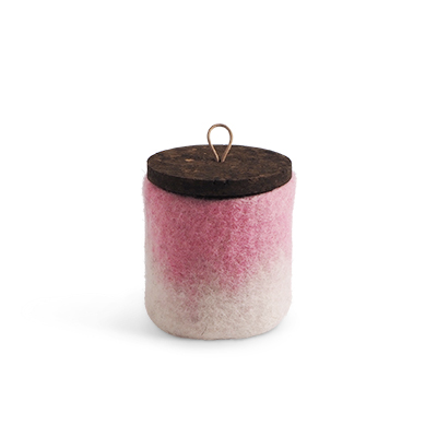 Handmade jar made of wool in pink ombre with a lid of cork and leather.