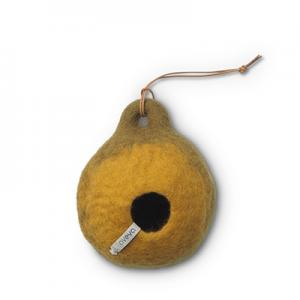 Birdhouse in olive green made of 100% wool.