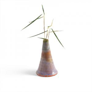 Mt. Baker - Ceramic vase in light lavender with glaze in rust.