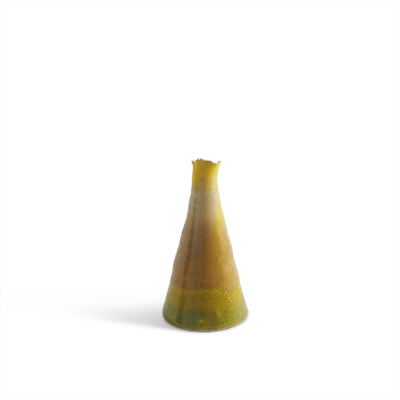 Askja - Ceramic vase in green and yellow glaze.