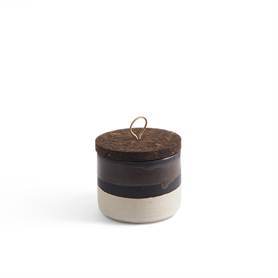 Handmade ceramic jar in black ombre with a lid of cork and leather.