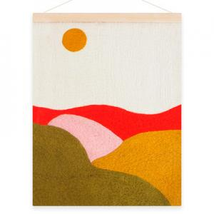 Poster in wool with a motive of landscape fields.