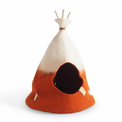 Small handmade tipi tent in natural white and rust red ombre.