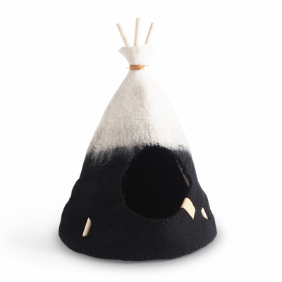 Small handmade tipi tent in natural white and black ombre.