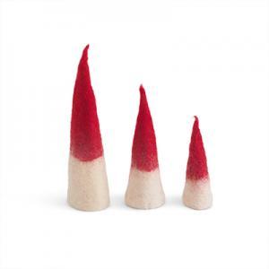 Handgjord röd-vit tomtenisse av ull i ombre.