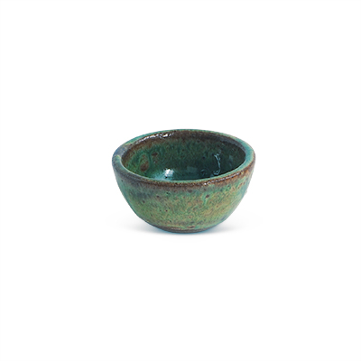 Small bowl in ceramic in blue-green and brown tones.