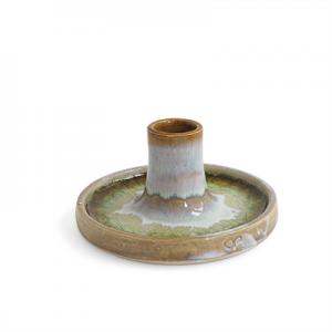 Handmade raw white ceramic candle holder with a glaze of recycled glass in brown.