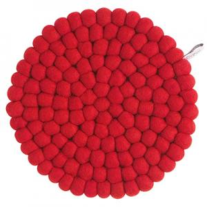 Large round trivet made of 100% wool - Red.