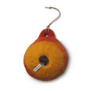 Bird house in rustred colors made of 100% wool.