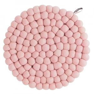 Large round trivet made of 100% wool - Pink.