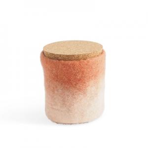 Handmade jar made of wool in terracotta and white ombre with a lid of light cork.