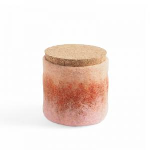 Handmade jar made of wool in pink - coral- terracotta ombre with a lid of light cork.