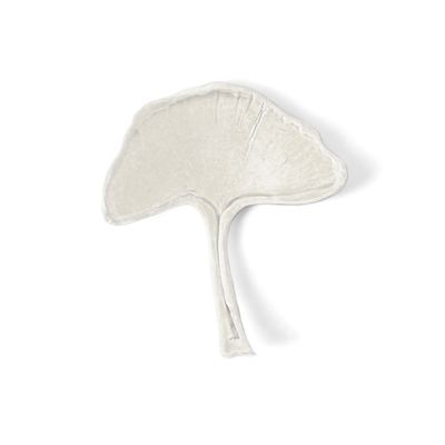 Handmade natural looking ginkgo leaf in white porcelain.